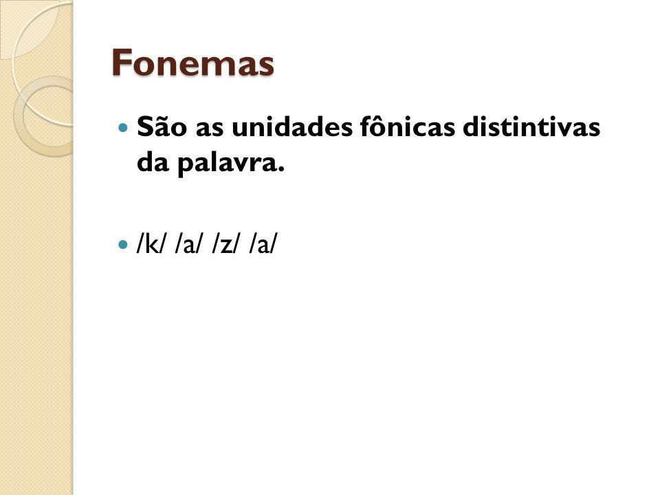 Fonemas São as unidades fônicas distintivas da palavra.