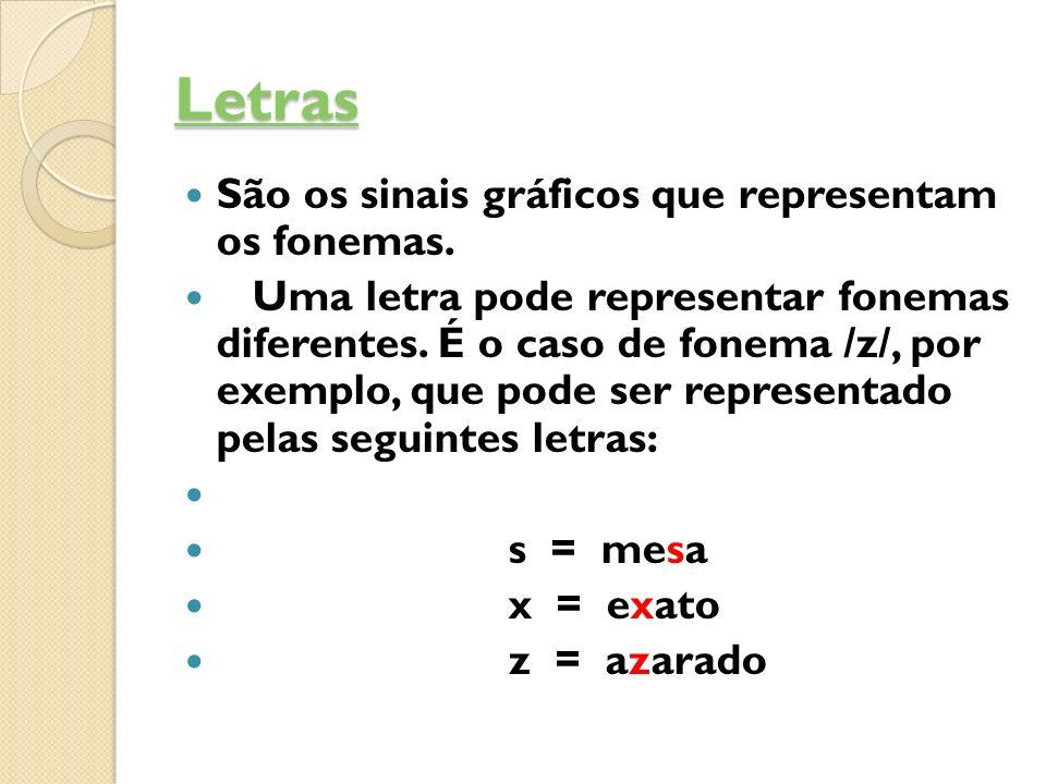 Letras São os sinais gráficos que representam os fonemas.