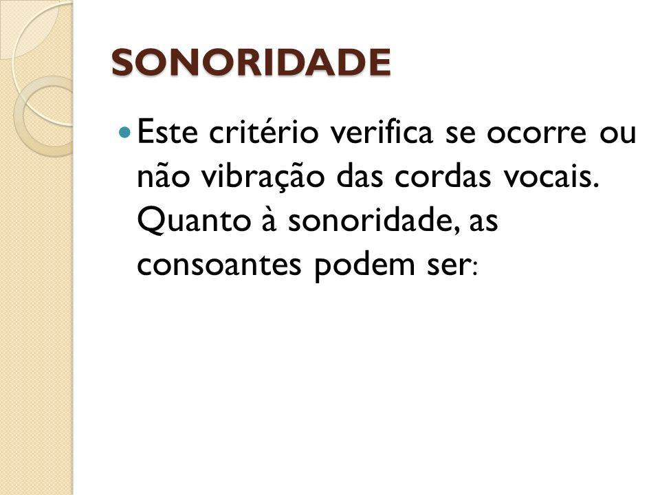 SONORIDADE Este critério verifica se ocorre ou não vibração das cordas vocais.