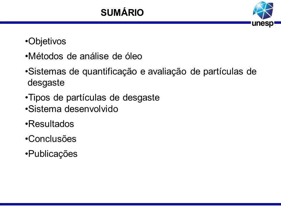 SUMÁRIOObjetivos. Métodos de análise de óleo. Sistemas de quantificação e avaliação de partículas de .desgaste.
