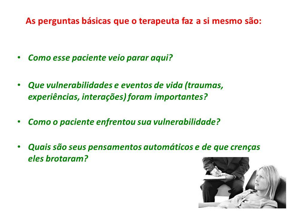 As perguntas básicas que o terapeuta faz a si mesmo são: