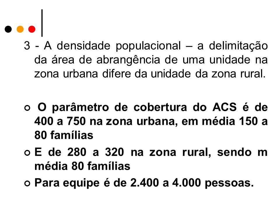 3 - A densidade populacional – a delimitação da área de abrangência de uma unidade na zona urbana difere da unidade da zona rural.