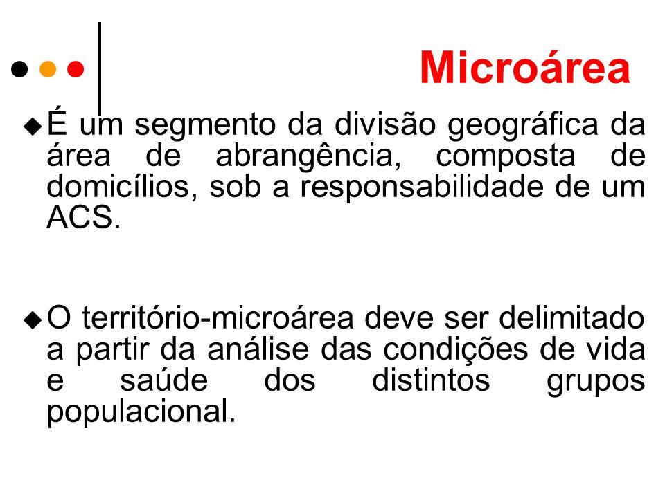 Microárea É um segmento da divisão geográfica da área de abrangência, composta de domicílios, sob a responsabilidade de um ACS.