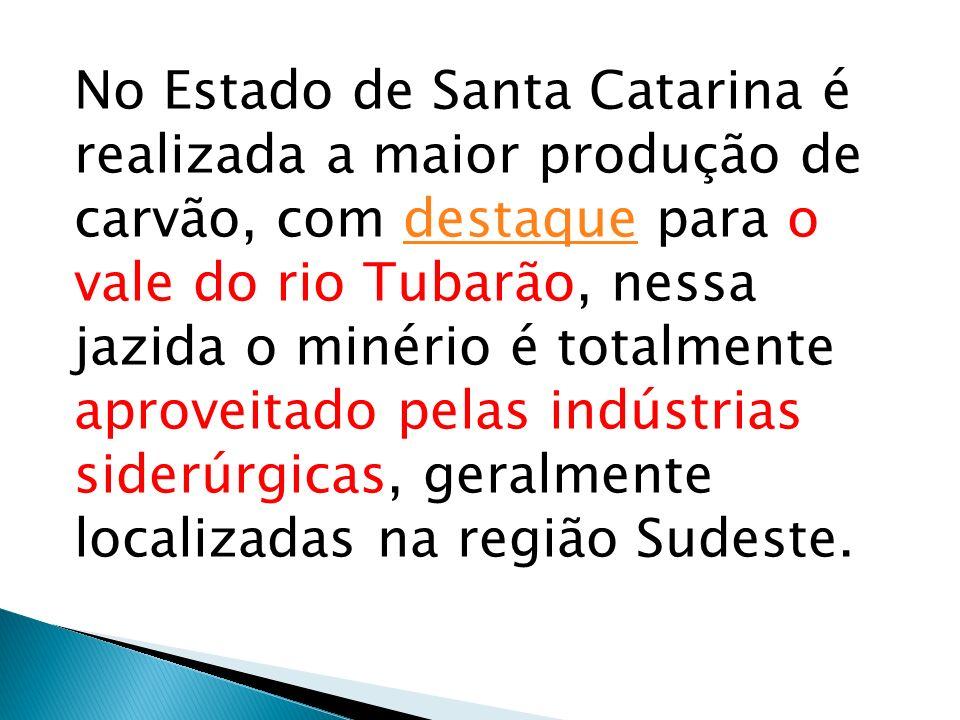 No Estado de Santa Catarina é realizada a maior produção de carvão, com destaque para o vale do rio Tubarão, nessa jazida o minério é totalmente aproveitado pelas indústrias siderúrgicas, geralmente localizadas na região Sudeste.
