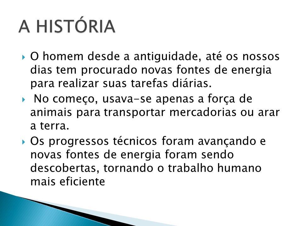 A HISTÓRIA O homem desde a antiguidade, até os nossos dias tem procurado novas fontes de energia para realizar suas tarefas diárias.