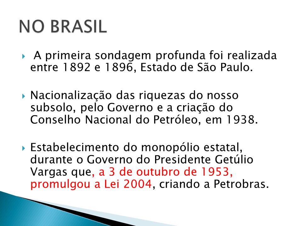 NO BRASILA primeira sondagem profunda foi realizada entre 1892 e 1896, Estado de São Paulo.