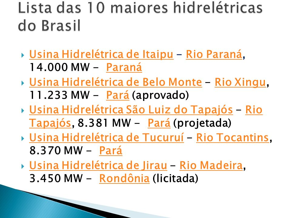 Lista das 10 maiores hidrelétricas do Brasil