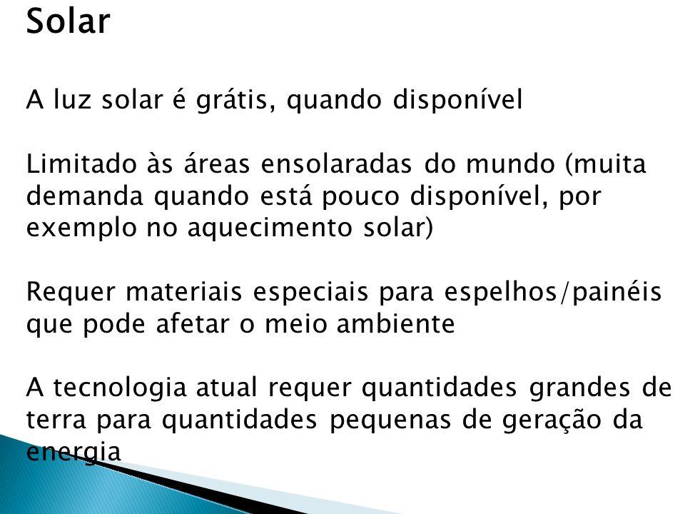 Solar A luz solar é grátis, quando disponível