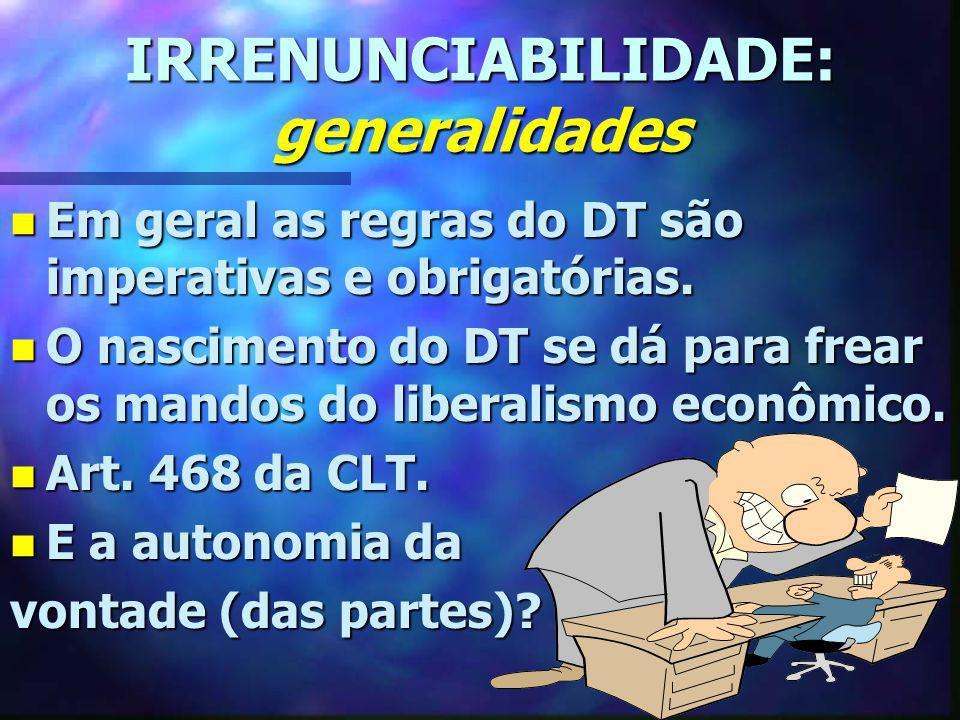 IRRENUNCIABILIDADE: generalidades