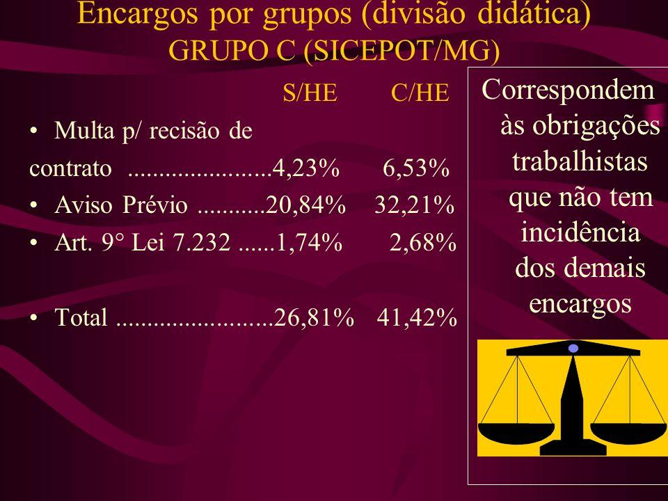 Encargos por grupos (divisão didática) GRUPO C (SICEPOT/MG)
