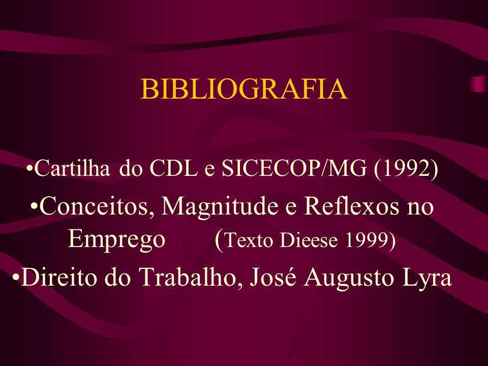 BIBLIOGRAFIA Cartilha do CDL e SICECOP/MG (1992) Conceitos, Magnitude e Reflexos no Emprego (Texto Dieese 1999)