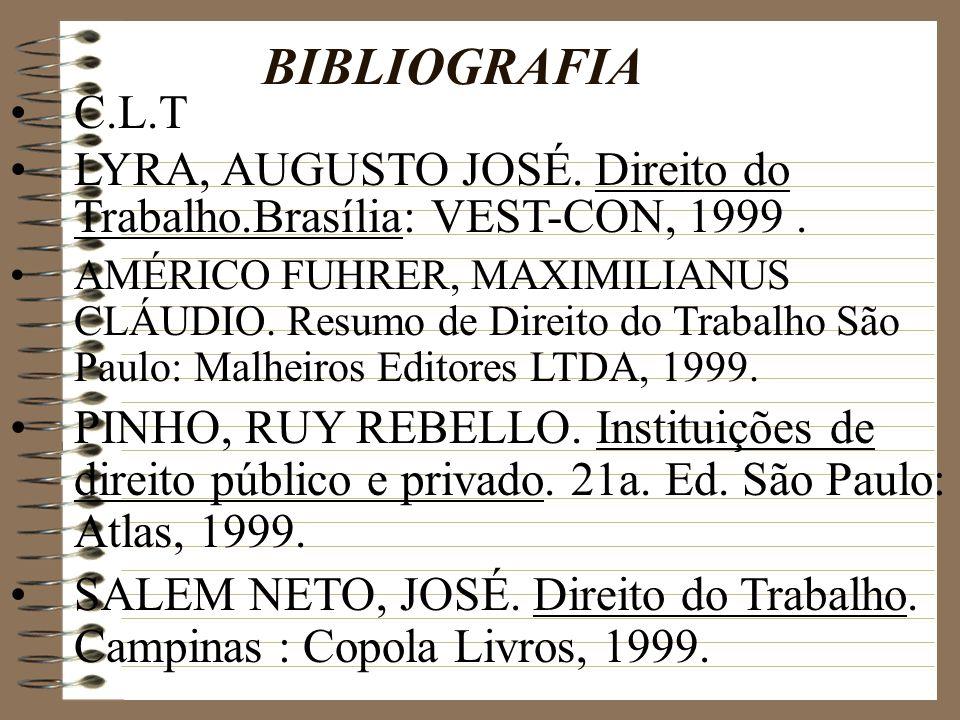 BIBLIOGRAFIA C.L.T. LYRA, AUGUSTO JOSÉ. Direito do Trabalho.Brasília: VEST-CON, 1999 .