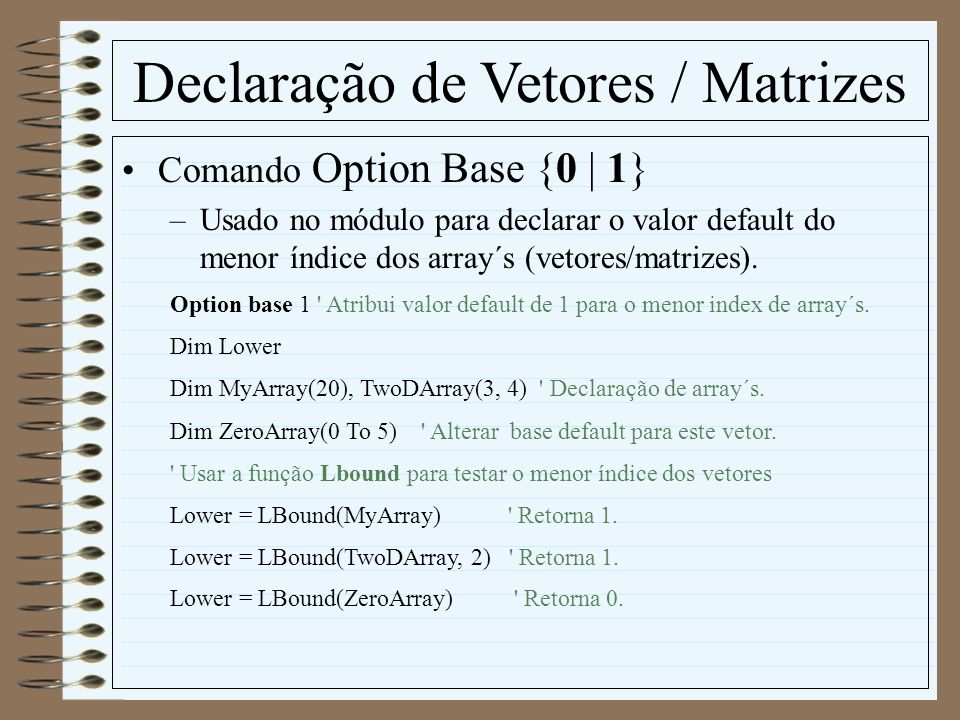 Declaração de Vetores / Matrizes