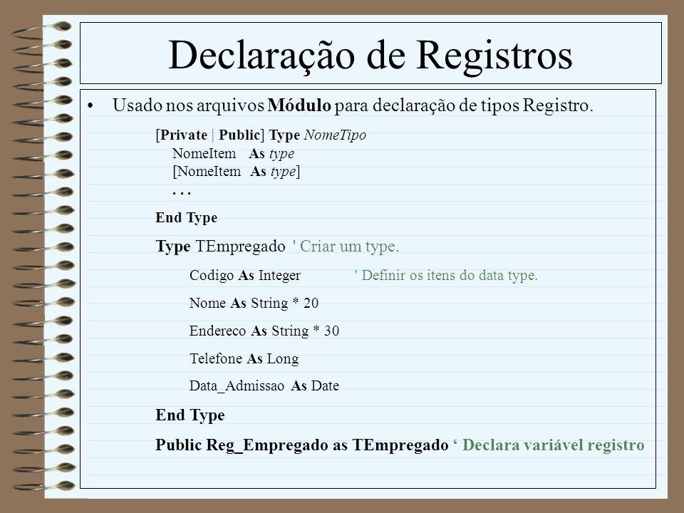 Declaração de Registros