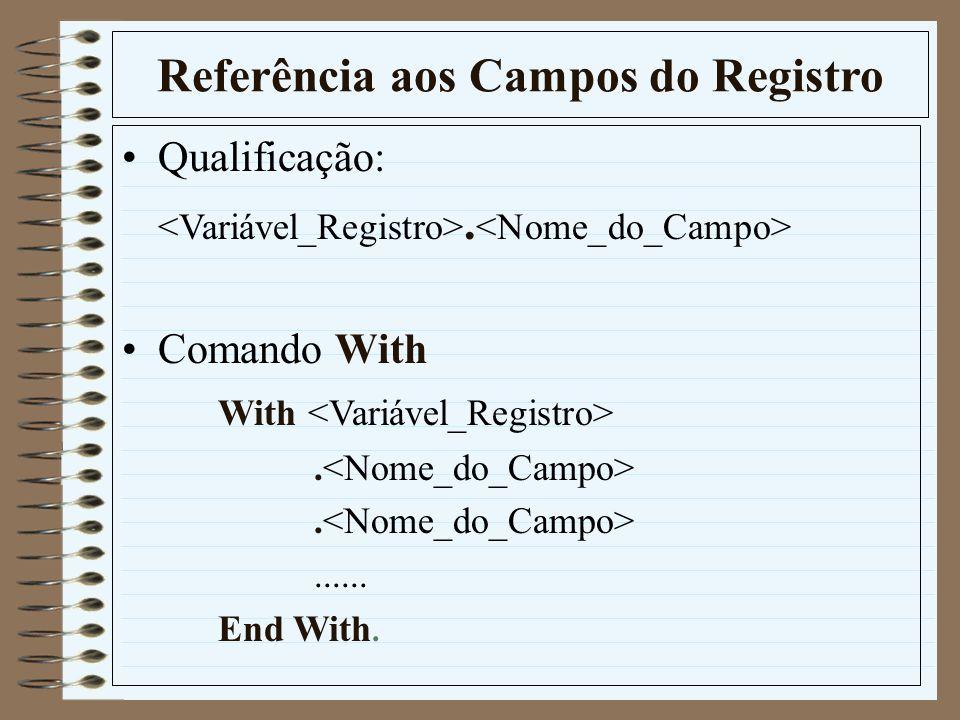 Referência aos Campos do Registro