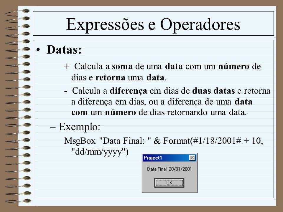 Expressões e Operadores