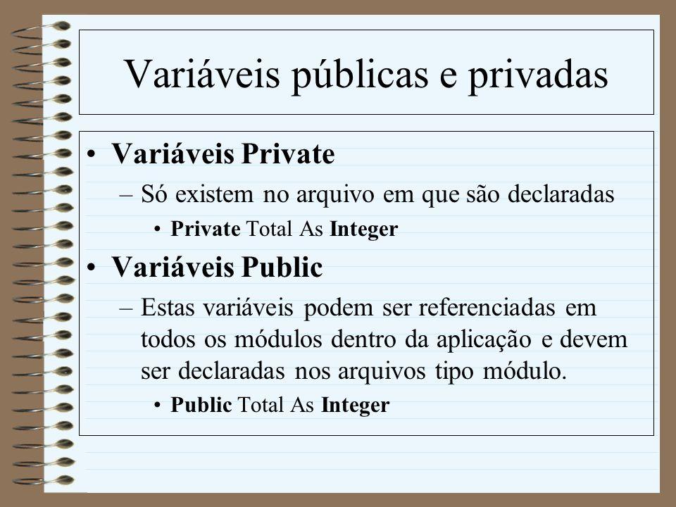 Variáveis públicas e privadas