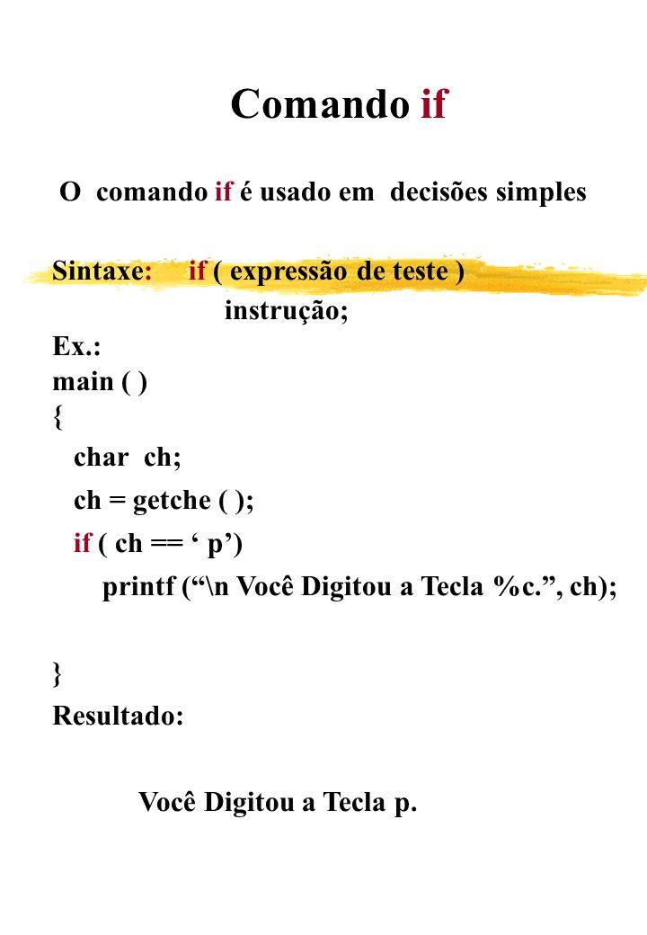 Comando if O comando if é usado em decisões simples. Sintaxe: if ( expressão de teste ) instrução;