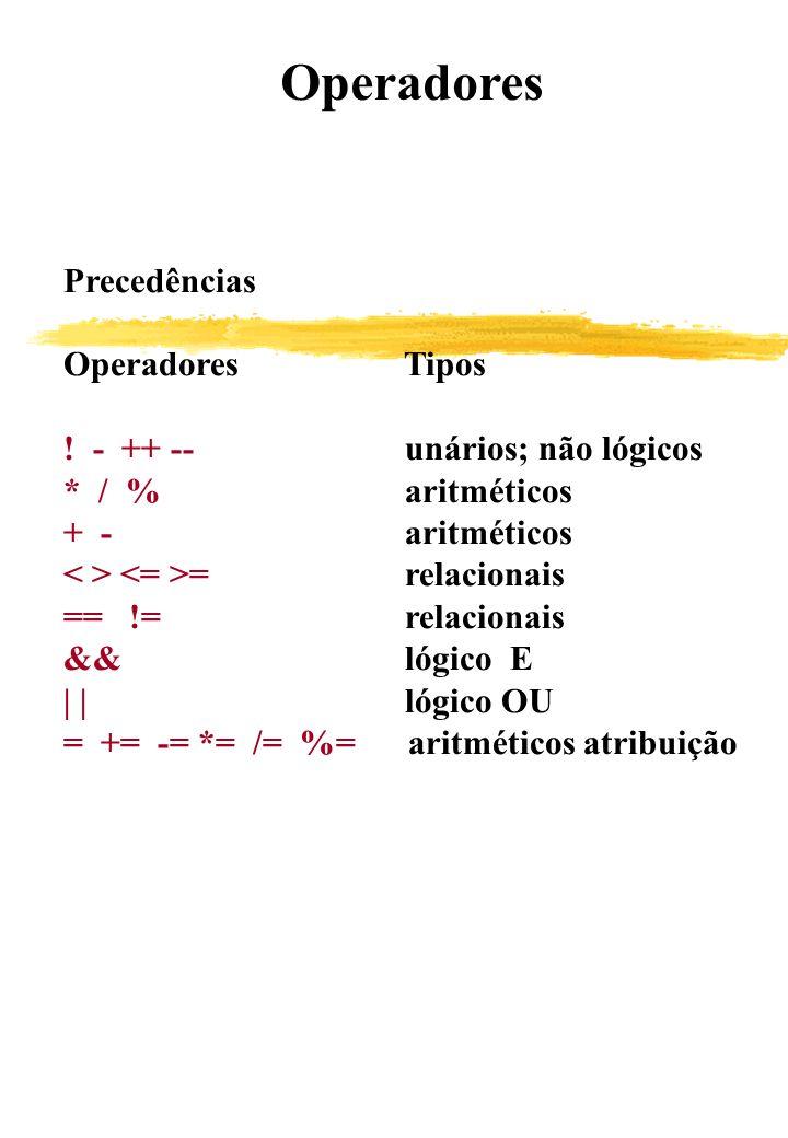 Operadores Precedências. Operadores Tipos. ! - ++ -- unários; não lógicos. * / % aritméticos.