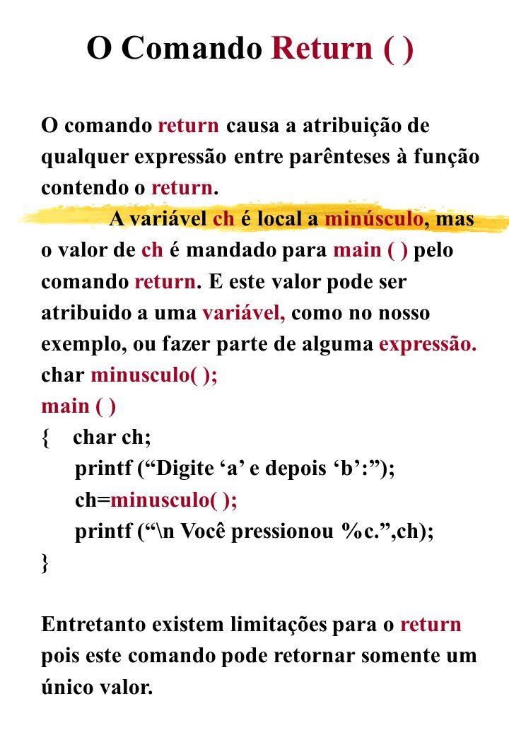O Comando Return ( ) O comando return causa a atribuição de. qualquer expressão entre parênteses à função.