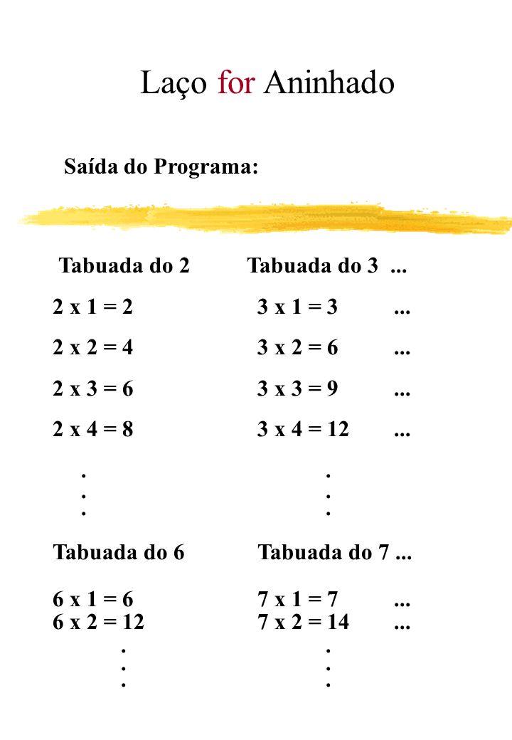 Laço for Aninhado Saída do Programa: Tabuada do 2 Tabuada do 3 ... 2 x 1 = 2 3 x 1 = 3 ...