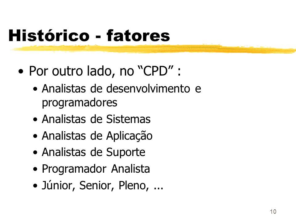 Histórico - fatores Por outro lado, no CPD :