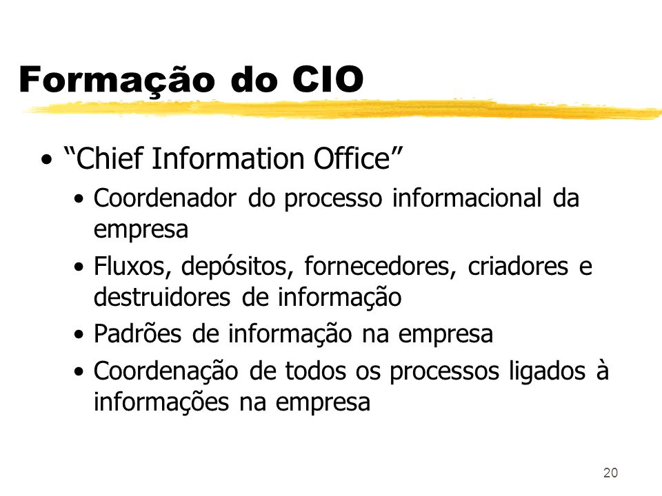 Formação do CIO Chief Information Office