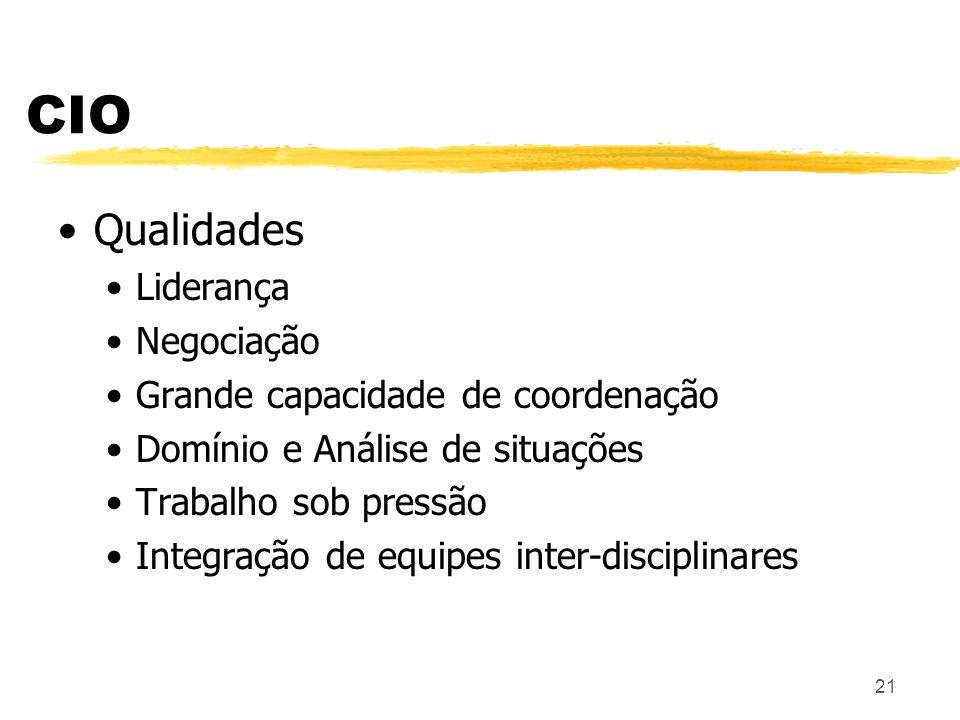 CIO Qualidades Liderança Negociação Grande capacidade de coordenação
