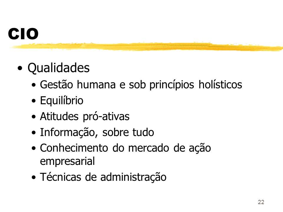 CIO Qualidades Gestão humana e sob princípios holísticos Equilíbrio