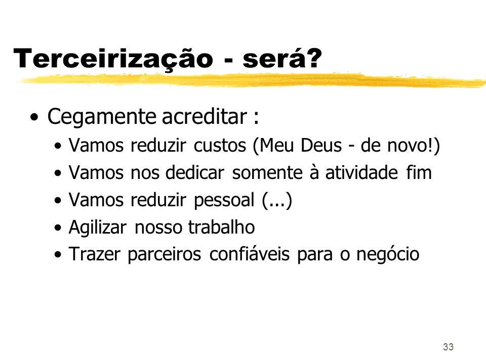 Terceirização - será Cegamente acreditar :