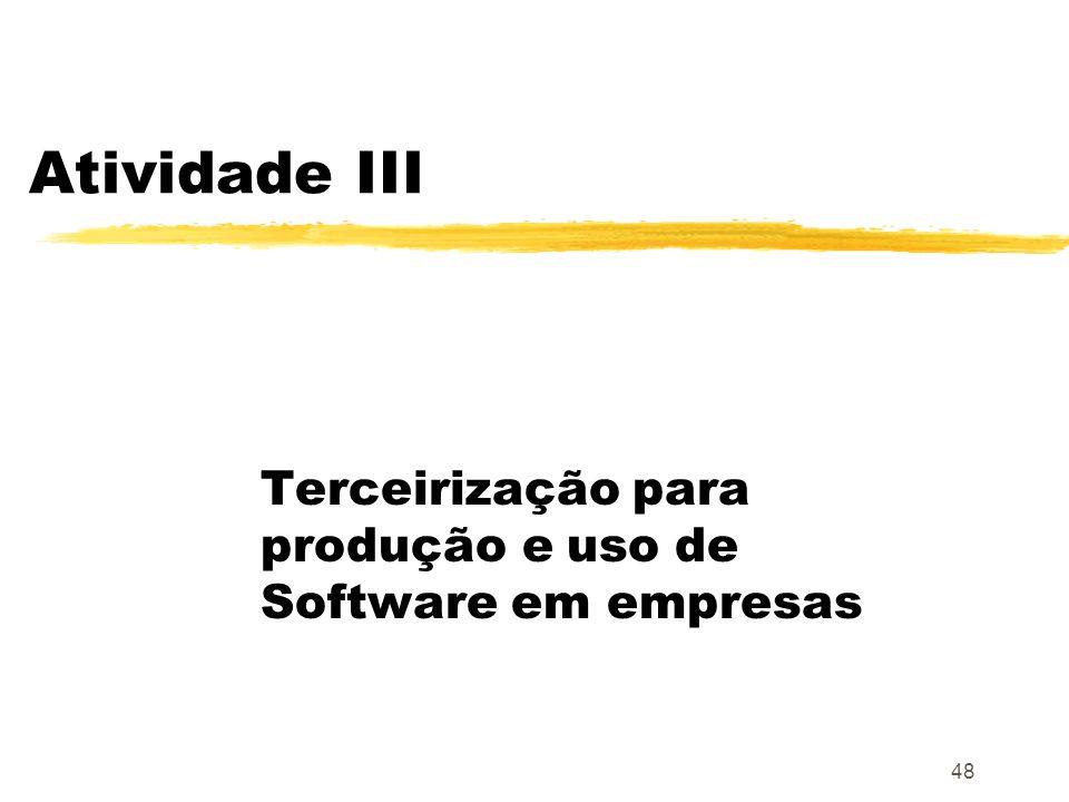 Terceirização para produção e uso de Software em empresas