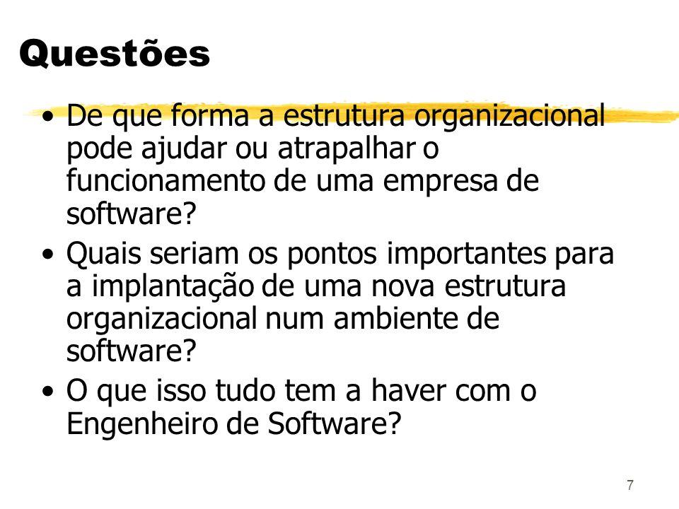 Questões De que forma a estrutura organizacional pode ajudar ou atrapalhar o funcionamento de uma empresa de software