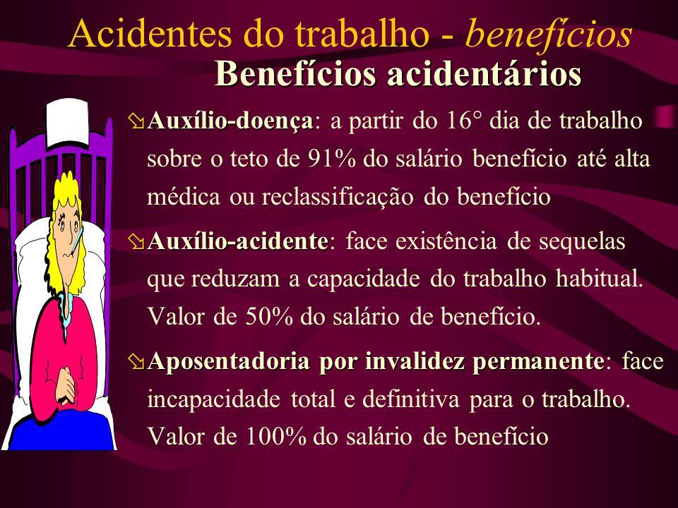 Acidentes do trabalho - benefícios