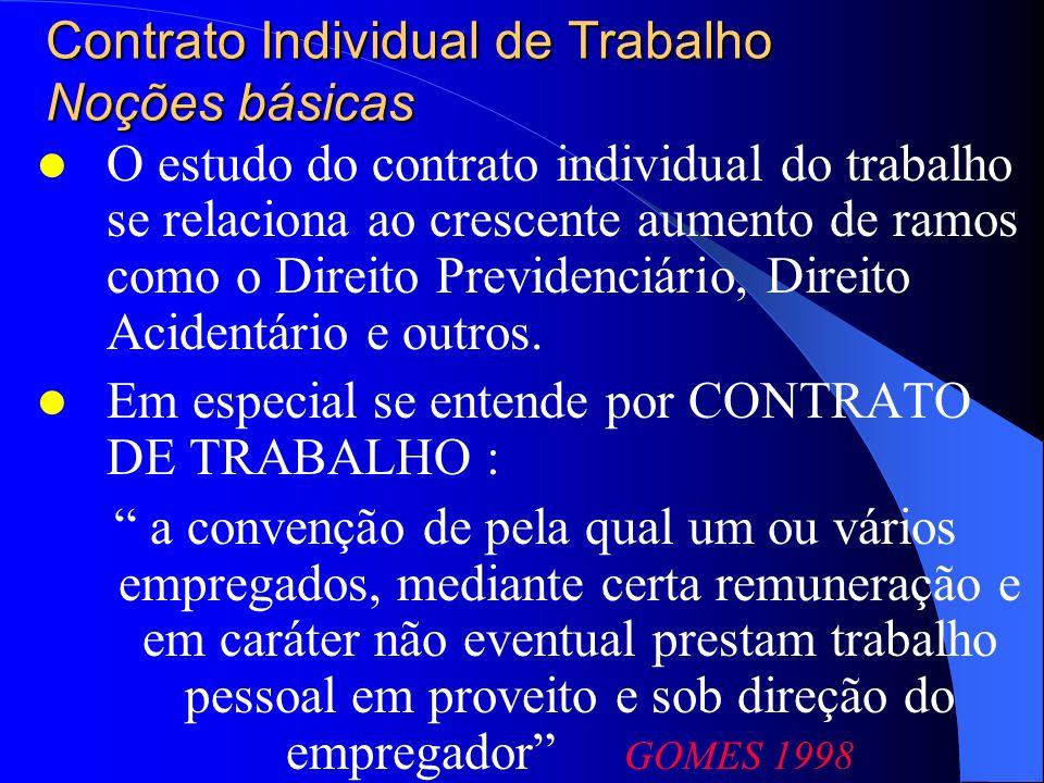 Contrato Individual de Trabalho Noções básicas