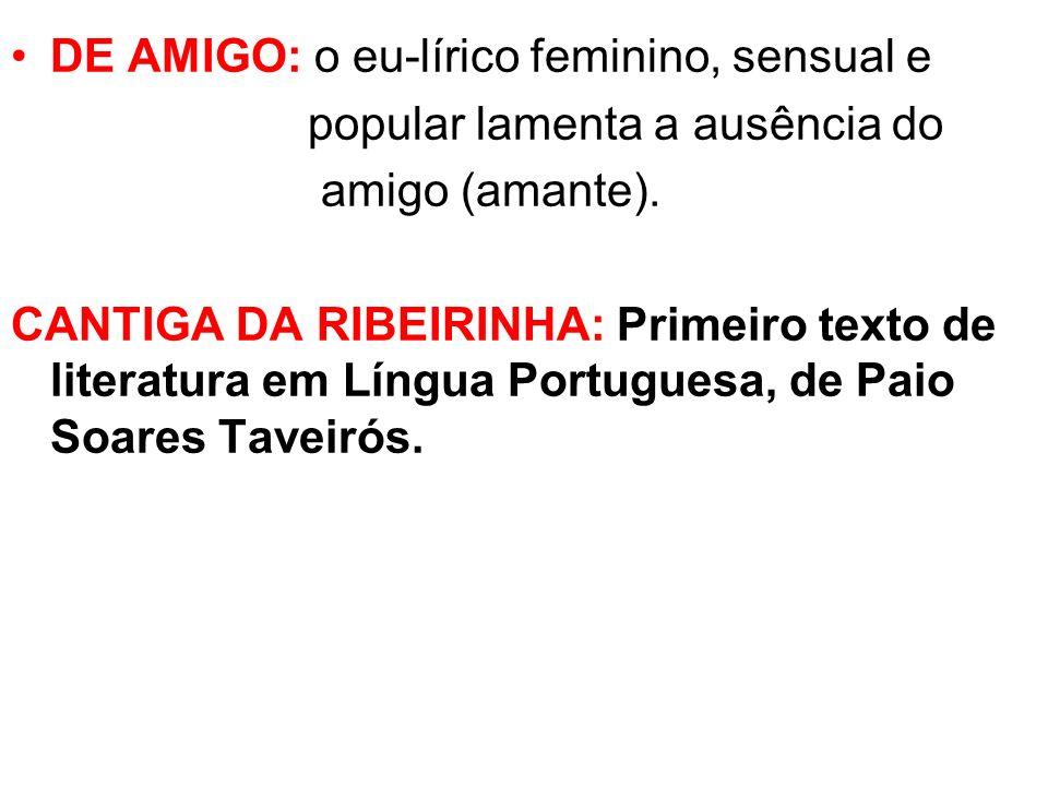 DE AMIGO: o eu-lírico feminino, sensual e