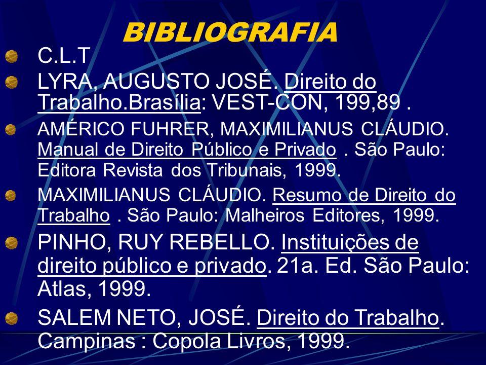 BIBLIOGRAFIA C.L.T. LYRA, AUGUSTO JOSÉ. Direito do Trabalho.Brasília: VEST-CON, 199,89 .