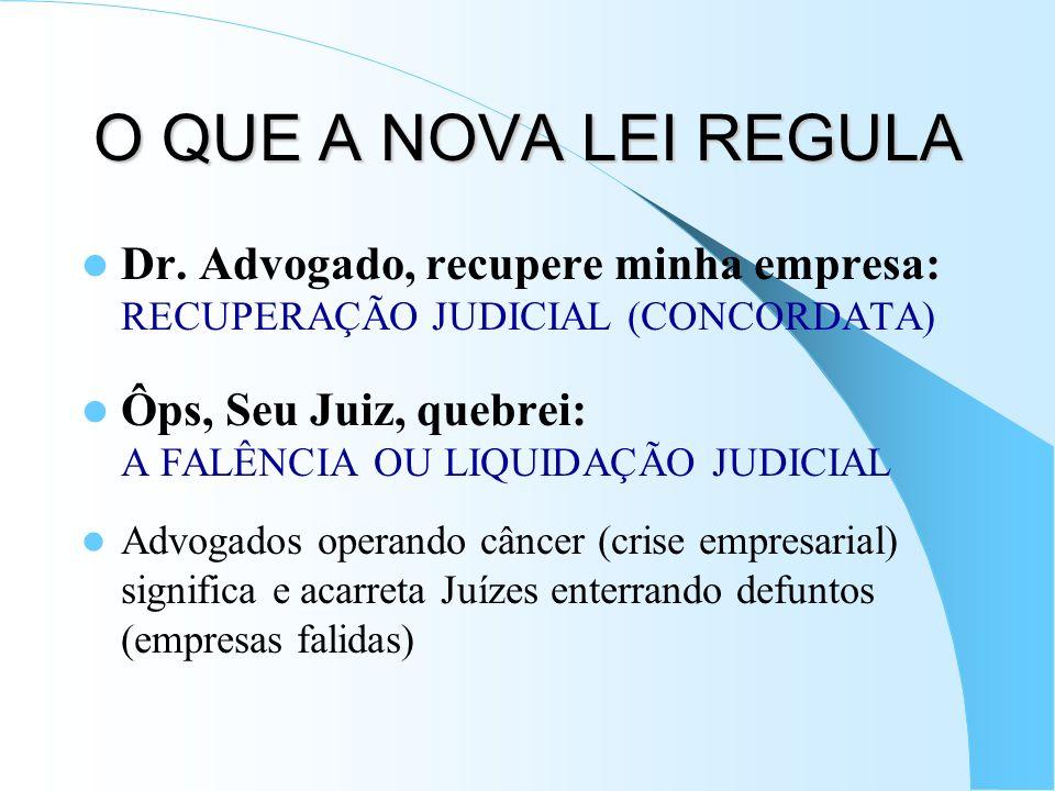O QUE A NOVA LEI REGULADr. Advogado, recupere minha empresa: RECUPERAÇÃO JUDICIAL (CONCORDATA)
