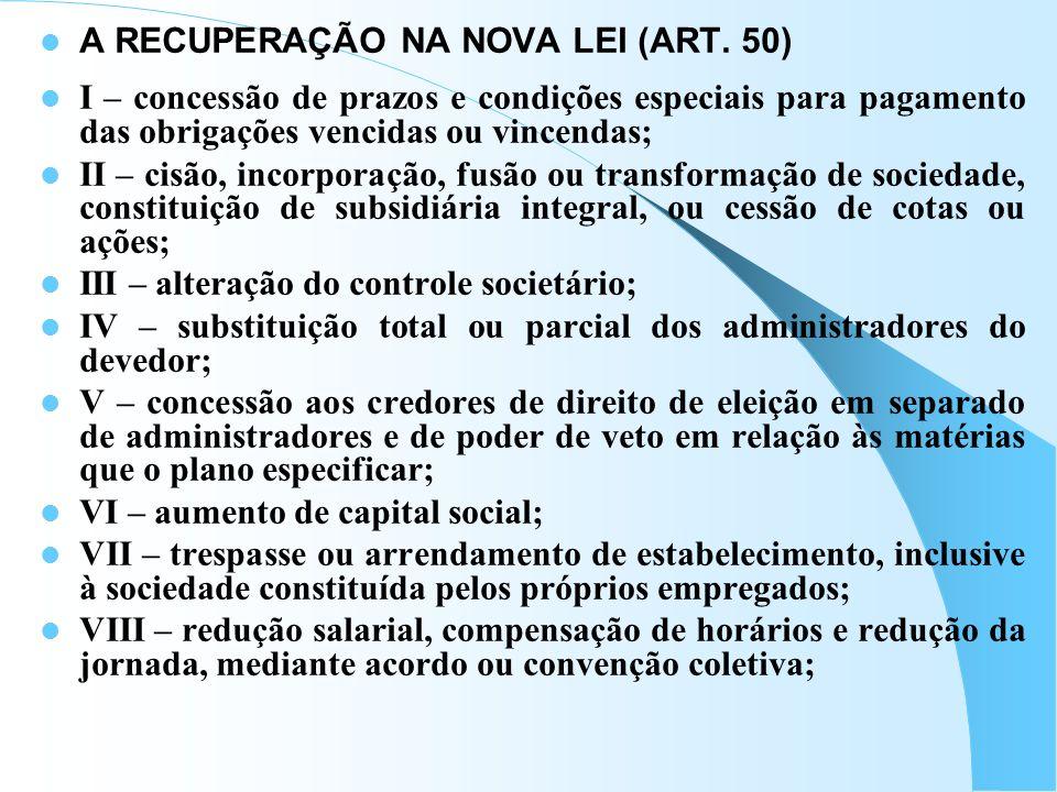 A RECUPERAÇÃO NA NOVA LEI (ART. 50)