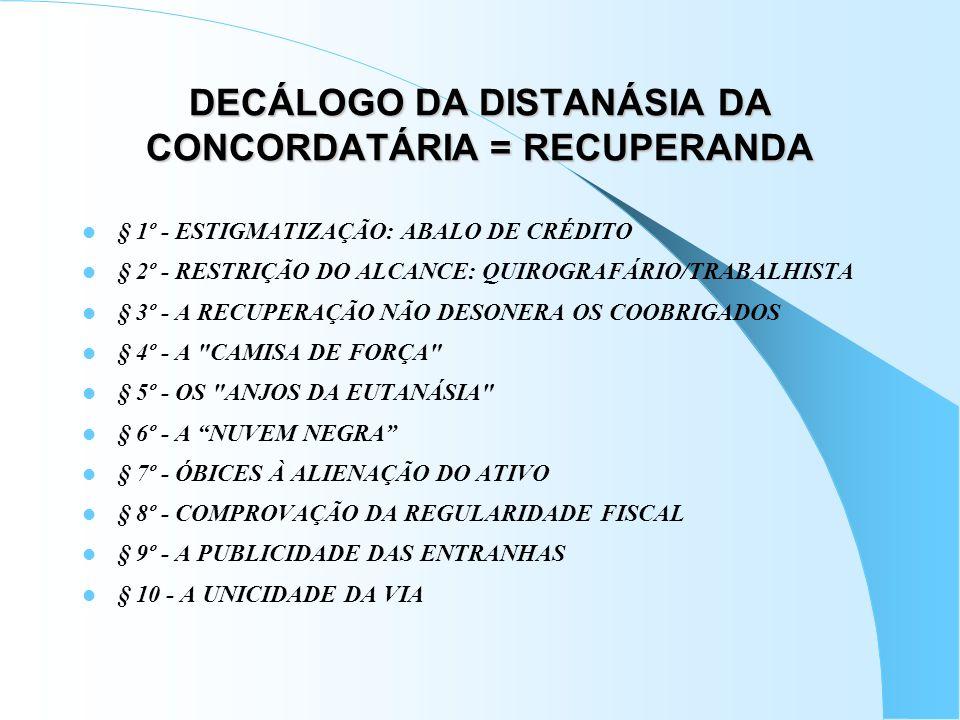 DECÁLOGO DA DISTANÁSIA DA CONCORDATÁRIA = RECUPERANDA