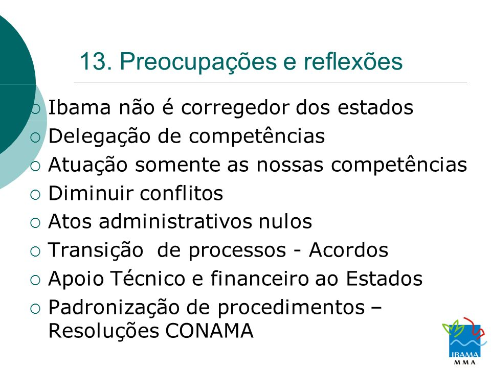 13. Preocupações e reflexões