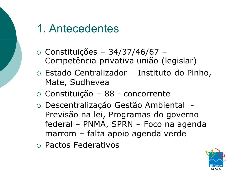 1. AntecedentesConstituições – 34/37/46/67 – Competência privativa união (legislar) Estado Centralizador – Instituto do Pinho, Mate, Sudhevea.