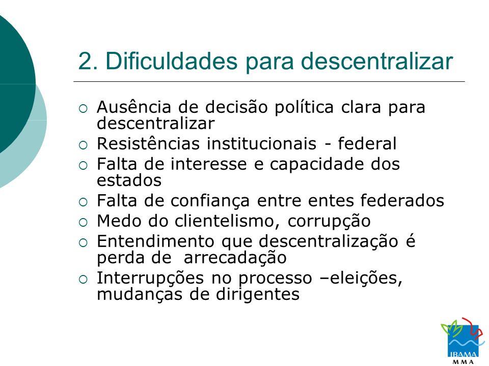 2. Dificuldades para descentralizar