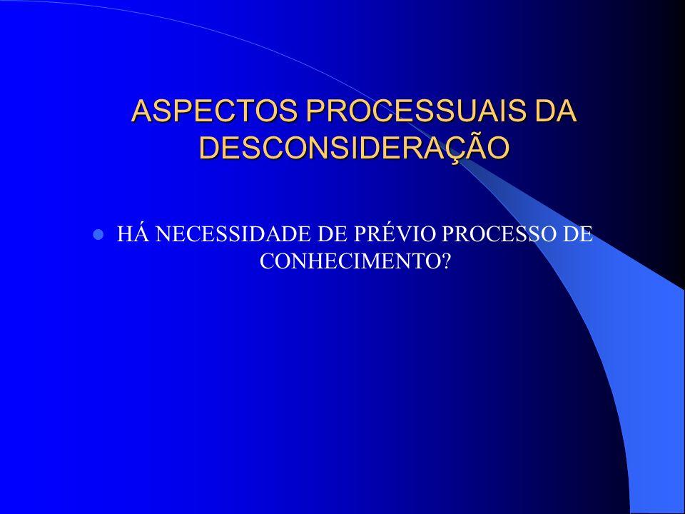 ASPECTOS PROCESSUAIS DA DESCONSIDERAÇÃO