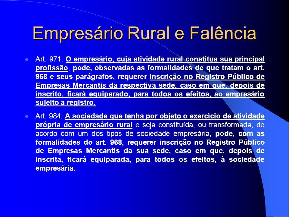 Empresário Rural e Falência
