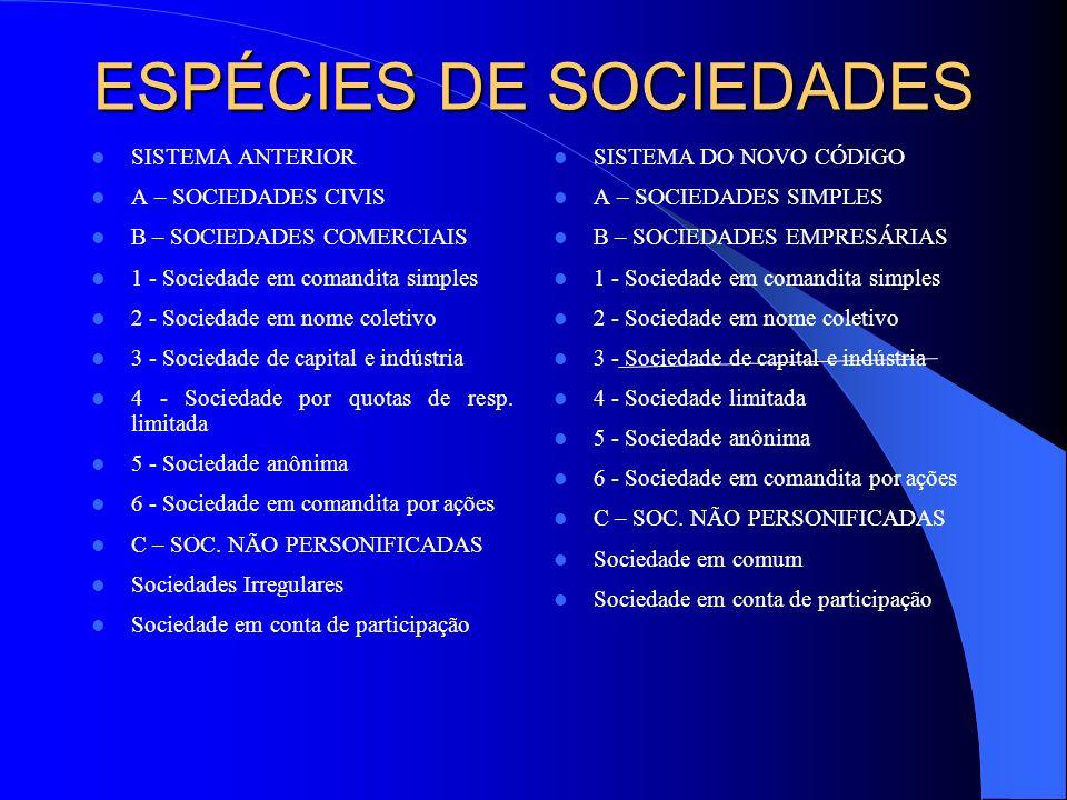 ESPÉCIES DE SOCIEDADES