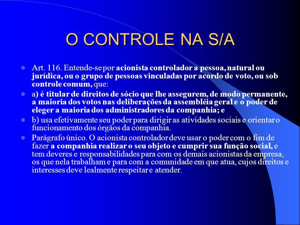 O CONTROLE NA S/A