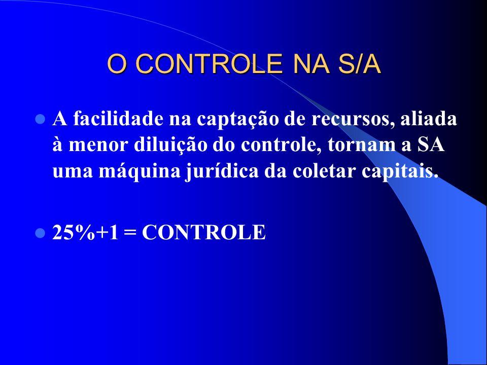 O CONTROLE NA S/A A facilidade na captação de recursos, aliada à menor diluição do controle, tornam a SA uma máquina jurídica da coletar capitais.