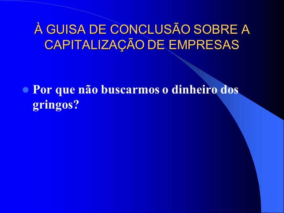 À GUISA DE CONCLUSÃO SOBRE A CAPITALIZAÇÃO DE EMPRESAS
