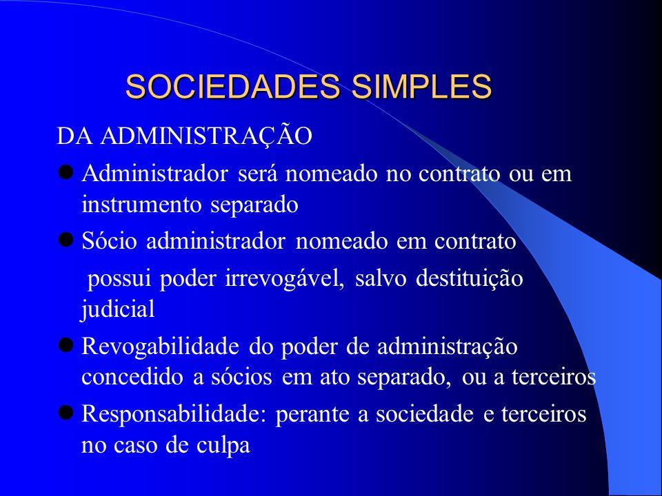 SOCIEDADES SIMPLES DA ADMINISTRAÇÃO
