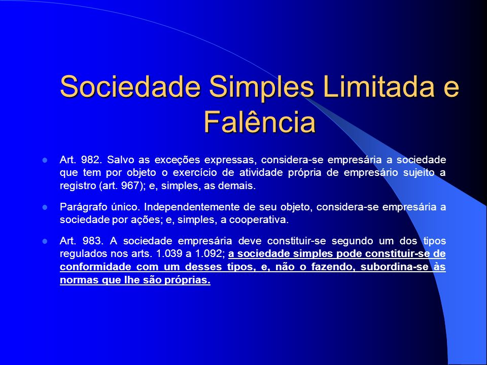 Sociedade Simples Limitada e Falência